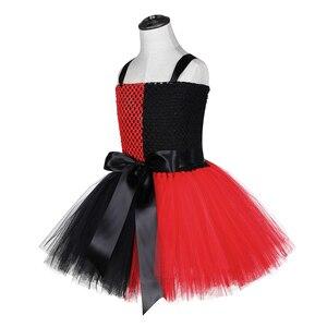 Image 2 - Harley Quinn Tutu elbise kırmızı siyah fantezi çocuk kız karnaval cadılar bayramı Joker palyaço Cosplay kostüm çocuklar doğum günü partisi elbisesi