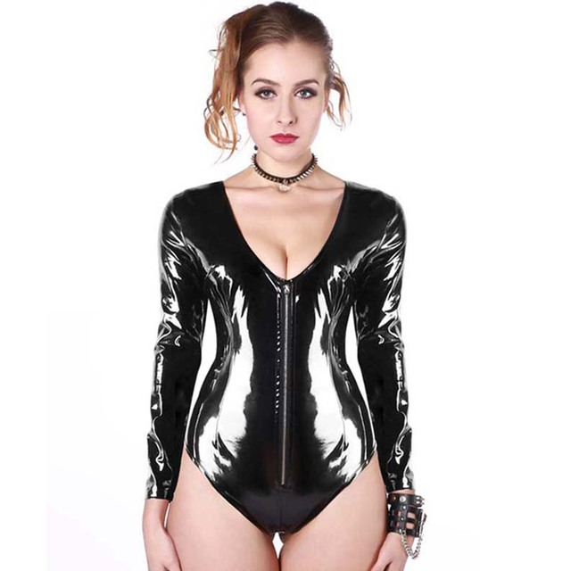 Sexy Adult Faux leather Teddy Bodysuit Clubwear Wetlook ZIP Catsuit Outfits Hot Black Overall Long Sleeve Catsuit Jumpsuit