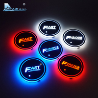 Airspeed LED Cup Coaster Fast And Furious Cup Holder Mats Pads For BMW Ford Toyota Kia