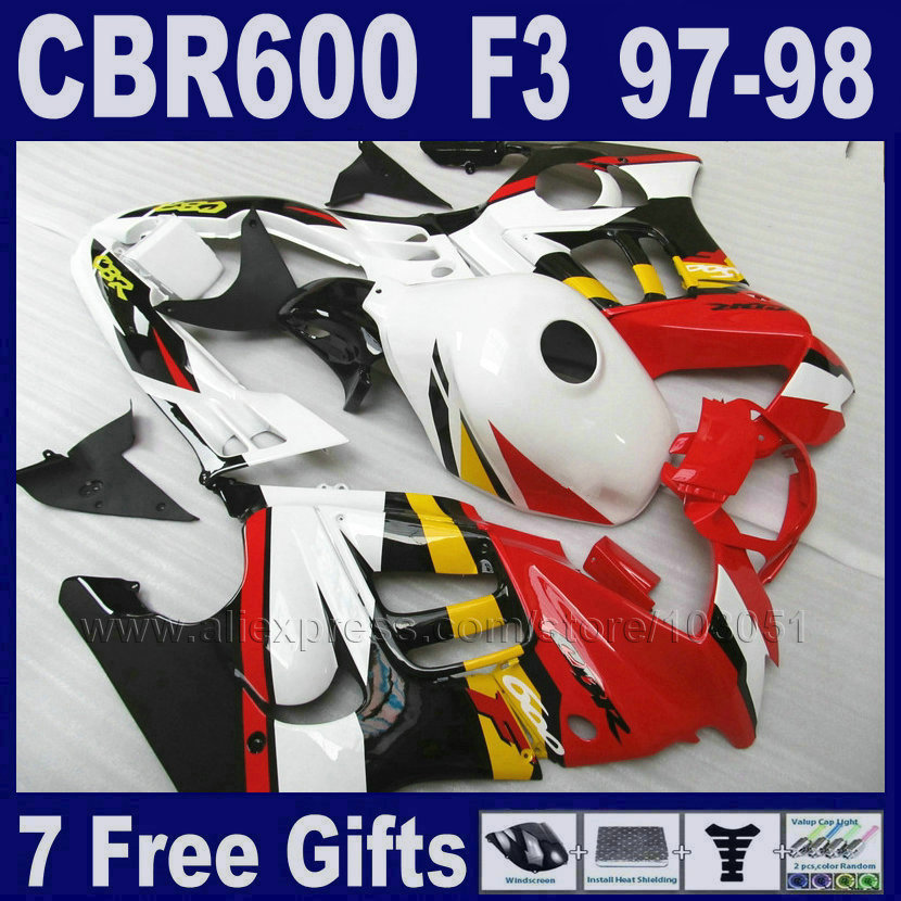 7gifts RED custom fairing ABS for Honda 1997 CBR600F3 1998 CBR 600 F3 97 98 white fairings kit factory Tank cover