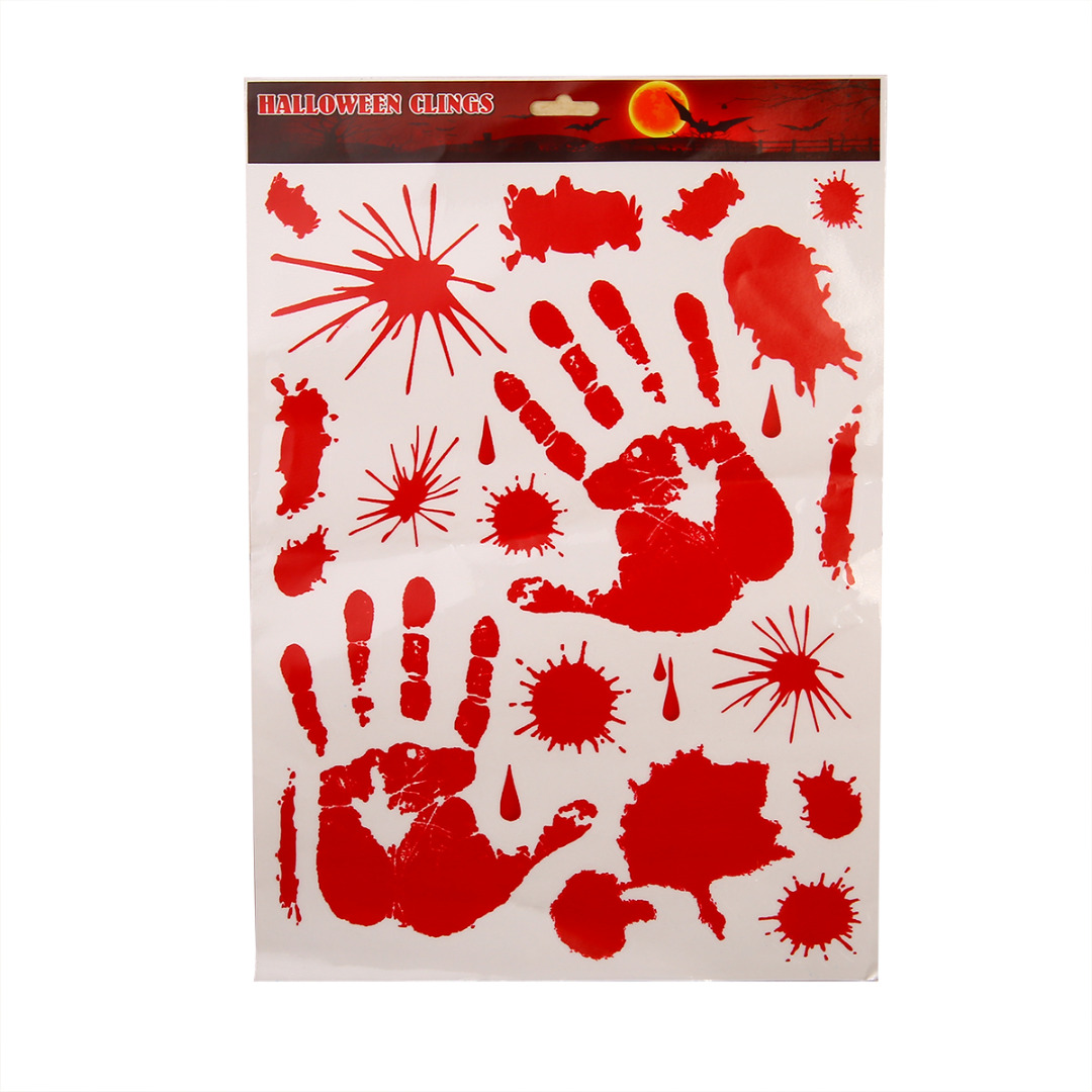 1pc Removable Bloody Handprint Sticker Red Footprint Stickers ...