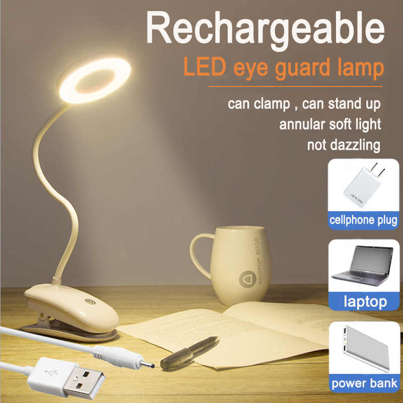 5V USB Led Table Lamps 18650 LED Touch On/off Switch 3Modes Clip Desk Lamp Eye Protection Reading Dimmer Rechargeable desk light