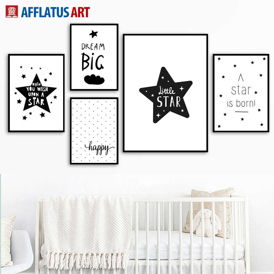 Stars Dream Big Wall Art Print Canvas Painting Nordic Posters And Prints Black White Wall Pictures For Kids Room Baby Room Decor
