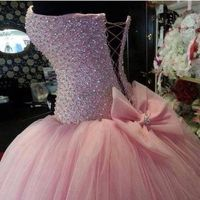 Real Image 2017 Long Quinceanera Dresses Beading Ball Gowns Sweetheart Pink vestido de debutante para 15 anos Sweet 16 Dresses