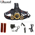 Z50 Led Zoom headlamp 7000LM Rechargeable Head Torch XM-L T6+2Q5 headlaight+2batteries+AC charger+Car charger+USB charger