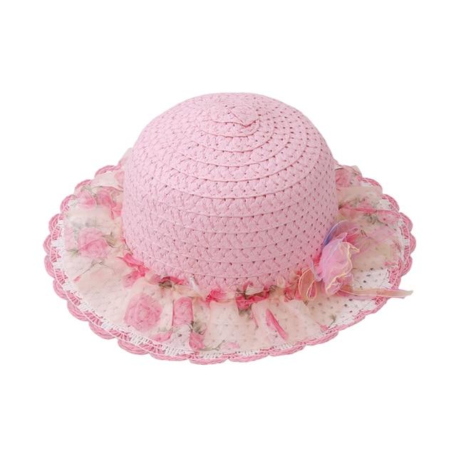 Bambini Cappelli di Paglia della ragazza Dolce Del Merletto Fiori Adornano  Cappello della neonata di Estate. Posiziona il mouse sopra per ingrandire 1ed1a371b404