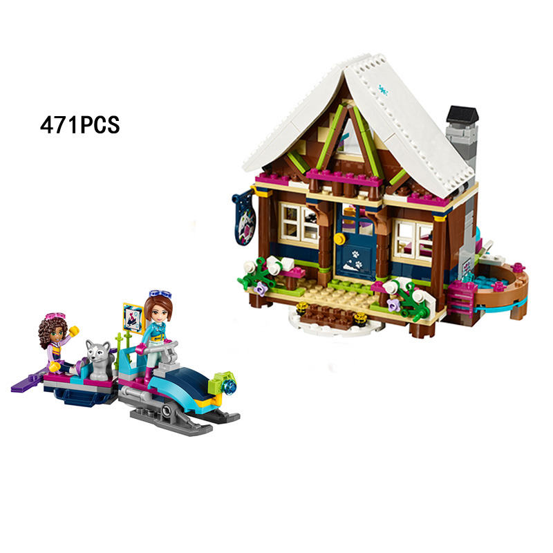 Hot My good friends Girls club snow resort chalet building block doll Amy dog figures Sled car bricks 41323 toys for kids gifts