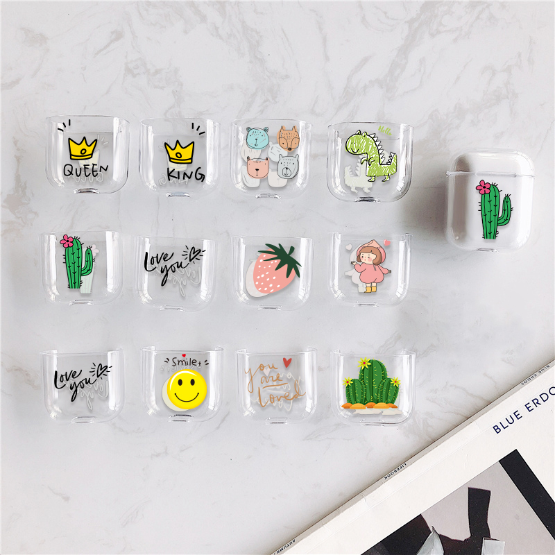 Pink Smile Strawberry Hard PC Crystal Cover For Airpods Cases Transparent Cactus Earphone Case For Apple Air Pods Headphone Boxs