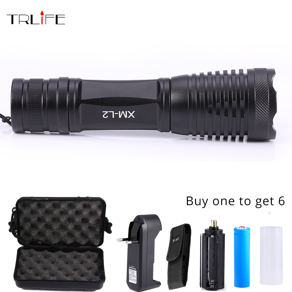 8000Lumens Flashlight CREE XM-L2 T6 LED Torch Zoomable LED 5 modes Torch Flash Light with 18650 battery+charger+holster+free box 5000lumnes usb cree xpe led flashlight zoomable flashlight torch flash light lamp lighting with usb charger battery