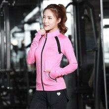Women Yoga Jacket Polyester Long Sleeve Fitness Running Yoga Sport Coats 2016 New Arrival Anti-Pilling Breathable Yoga Shirts