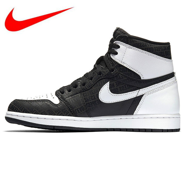 super popular 026bb 98f21 Original NIKE Air Jordan 1 Retro High OG AJ1 Joe 1 High Black and Gray 3M  Reflective Mens Basketball Shoes Sneakers 555088 008