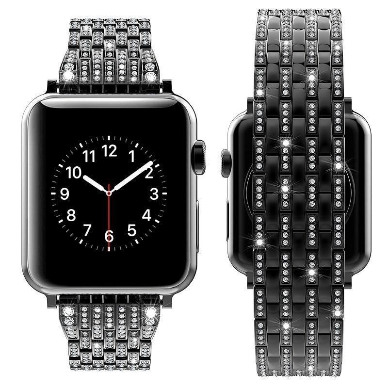 Bracelets de montre diamant strass série 5/4/3/2/1 Bracelet à maillons en acier inoxydable Bracelet pour i bracelets de montre 38mm 42mm 40mm 44mm - 6