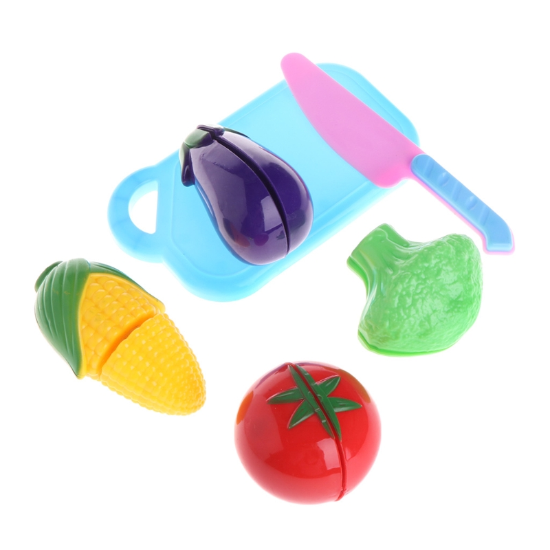 6Pcs Plastic Kitchen Fruit Vegetable Cutting Pretend Role Play Kids Toy Set Gift #0503#