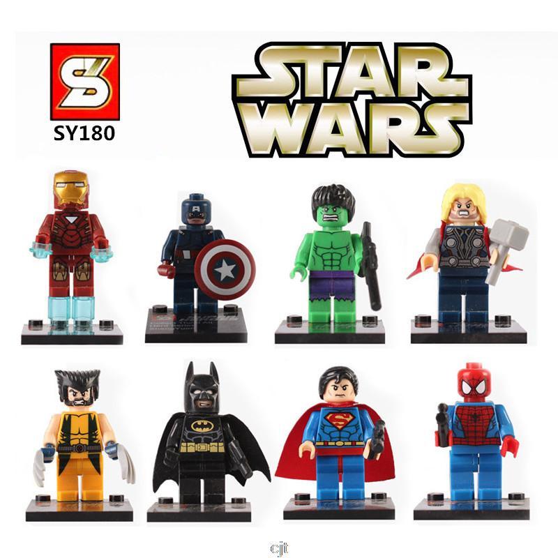 SY180 Super Heroes The Avengers Minifigures Iron Man Batman Superman Spiderman Building font b Block b
