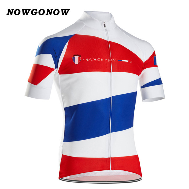 465cbec48 2017 man cycling jersey clothing France falg blue white red team Quick Dry bike  wear road mtb ropa ciclismo maillot NOWGONOW