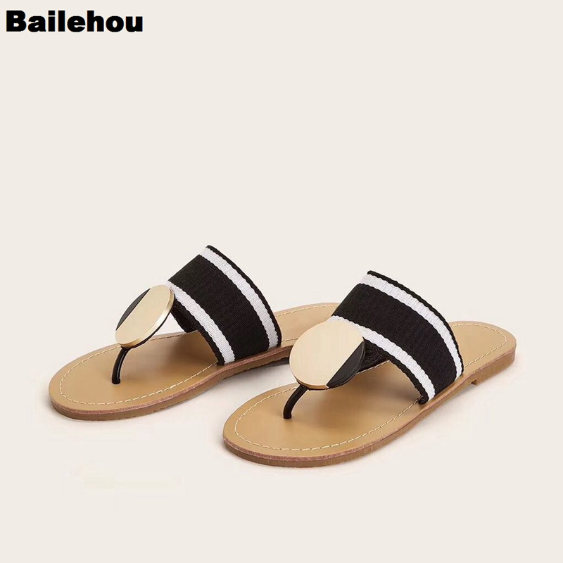 Bailehou Summer Slippers Shoes Women Slides Sandals 2019 New Casual Flat Beach Shoes Open Toe Flip Flops Sandal Outdoor Slippers
