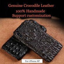 LANGSIDI High Quality Luxury Natural crocodile leather phone case For iphone 8Plus 7plus X case handmade shockproof back cover langsidi светло коричневый iphone 7plus