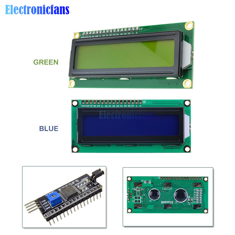 LCD1602 PCF8574T PCF8574 IIC/I2C / Interface 16x2 Character LCD Display Module 1602 5V Blue/ Yellow Green Screen For Arduino DIY
