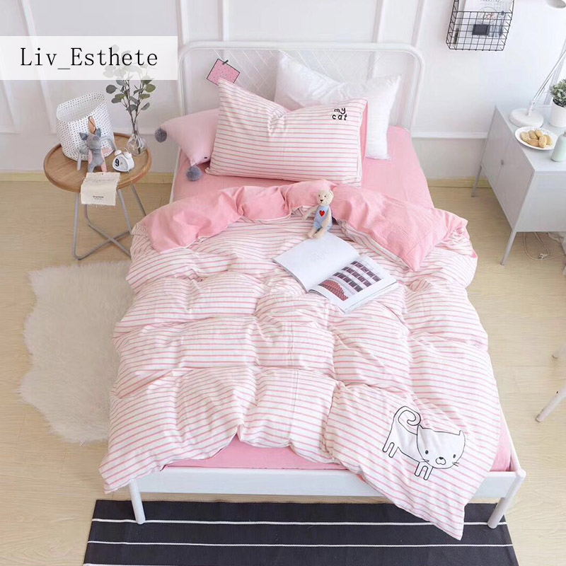 Liv_Esthete Cute Kitten Pink Stripes Cartoon Bedding Set Children Duvet Cover Set 100% Cotton Bed Set With Flat sheet 3pcs