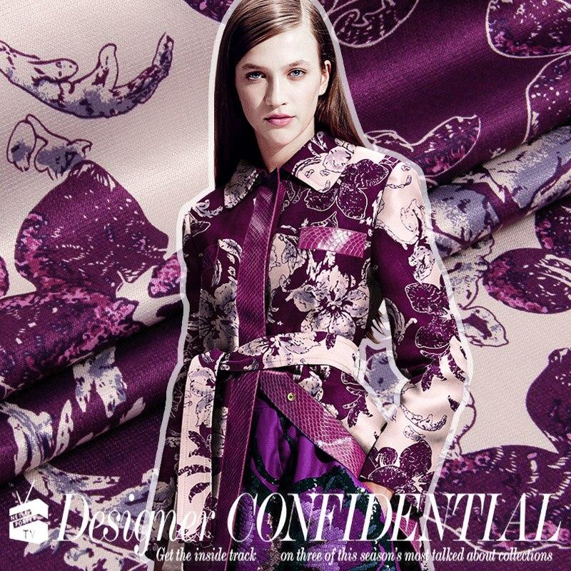2017 new fashion senior cotton 100% mulberry silk linen fabric spring flower print Violet clothes silk hemp fabric wide 145 cm