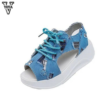 Fashion sandals women Beach Denim summer shoes 2017 Soft sandals Party muffin platform shoes woman Patch waterproof Taiwan X468
