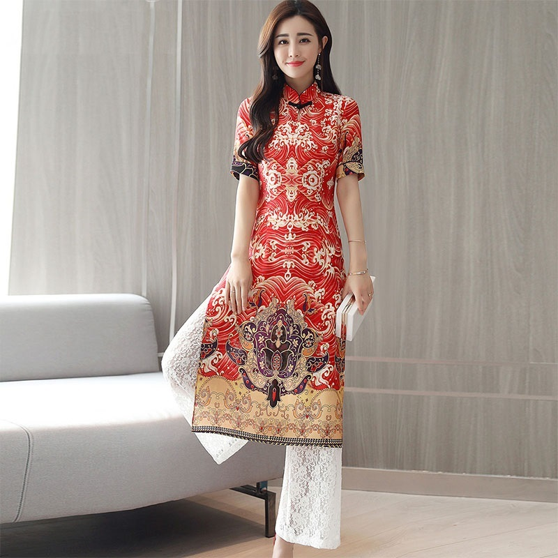 Traditional Chinese clothing for women pant suits oriental modern qi pao  ladies female set 2 pieces 21d02065c1d7
