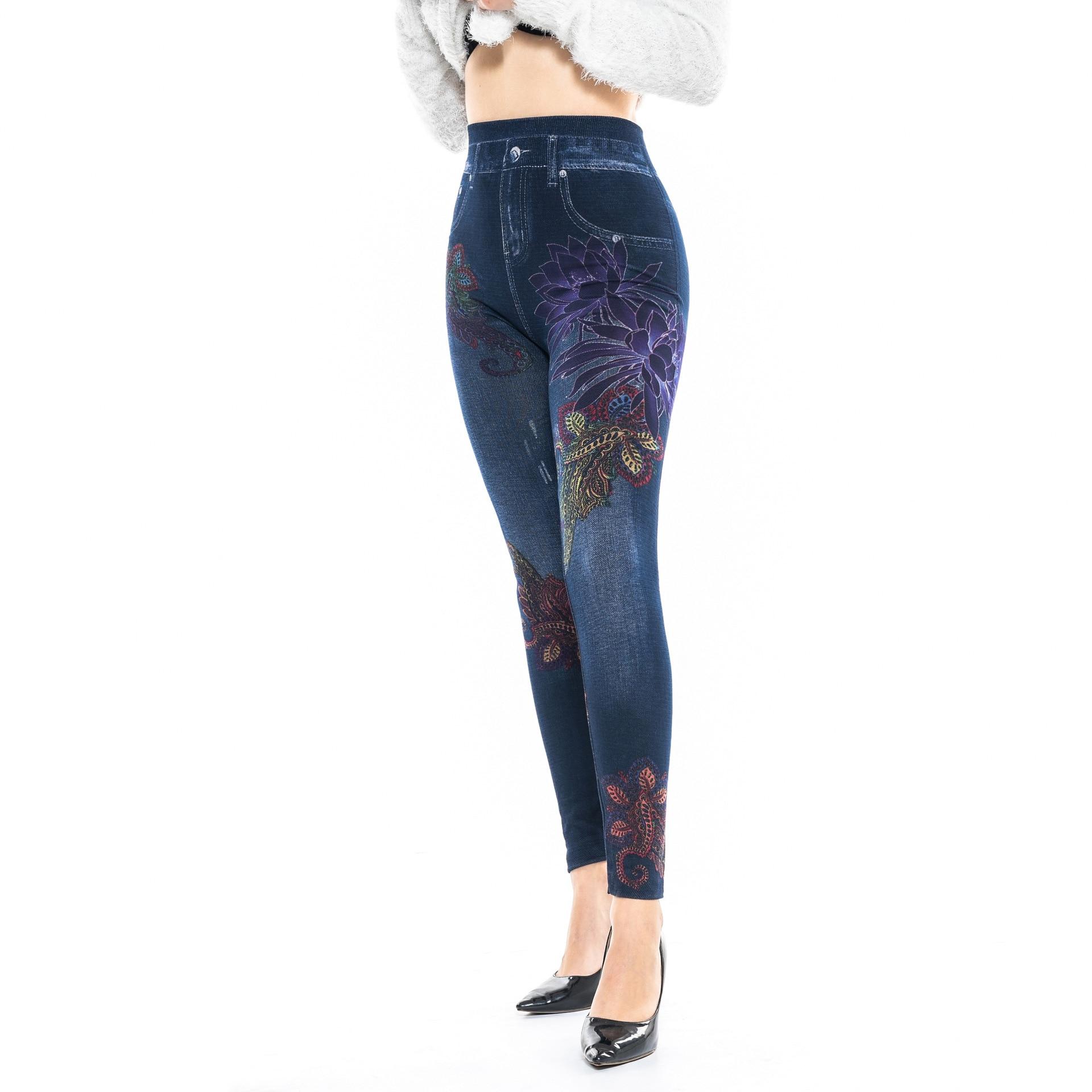 Vorsichtig Faux Denim Jeans Leggings Rot Lotus Print Leggings Frauen Nachahmung Jean Slim Fitness Leggings Elastische Nahtlose Leggins Hosen