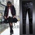 CALÇAS de Brim Dos Homens Do Punk de alta Qualidade Avant Garde Projetado Calça Jeans calças Retas Fit Motociclista Calças de Brim Do Furo Magro Denim Longo calças