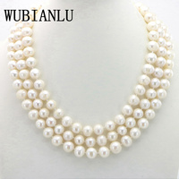 WUBIANLU Charming 10 11MM White South Sea Pearl Necklace 54 Inches Chokers Necklaces For Womens Costume Jewelry Pearls Wholesale