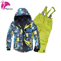 Boy Snowsuit Outdoor Ski Set Winter Warm Snow Suit Waterproof Windproof Padded Jacket With Pants 2Pcs
