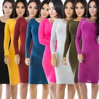 בגדי אירופה ובארצות הברית של הנשים באביב חדש מוצק ארוך שרוולים ירך שקית בילוי dress אופנה כותנה dress