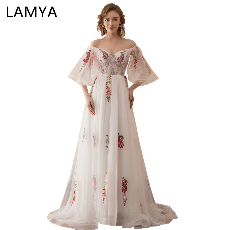 LAMYA Long Chiffion   Prom     Dresses   Elegant Embroidery Illusion Evening Party   Dress   2019 Sexy V Neck vestidos de festa