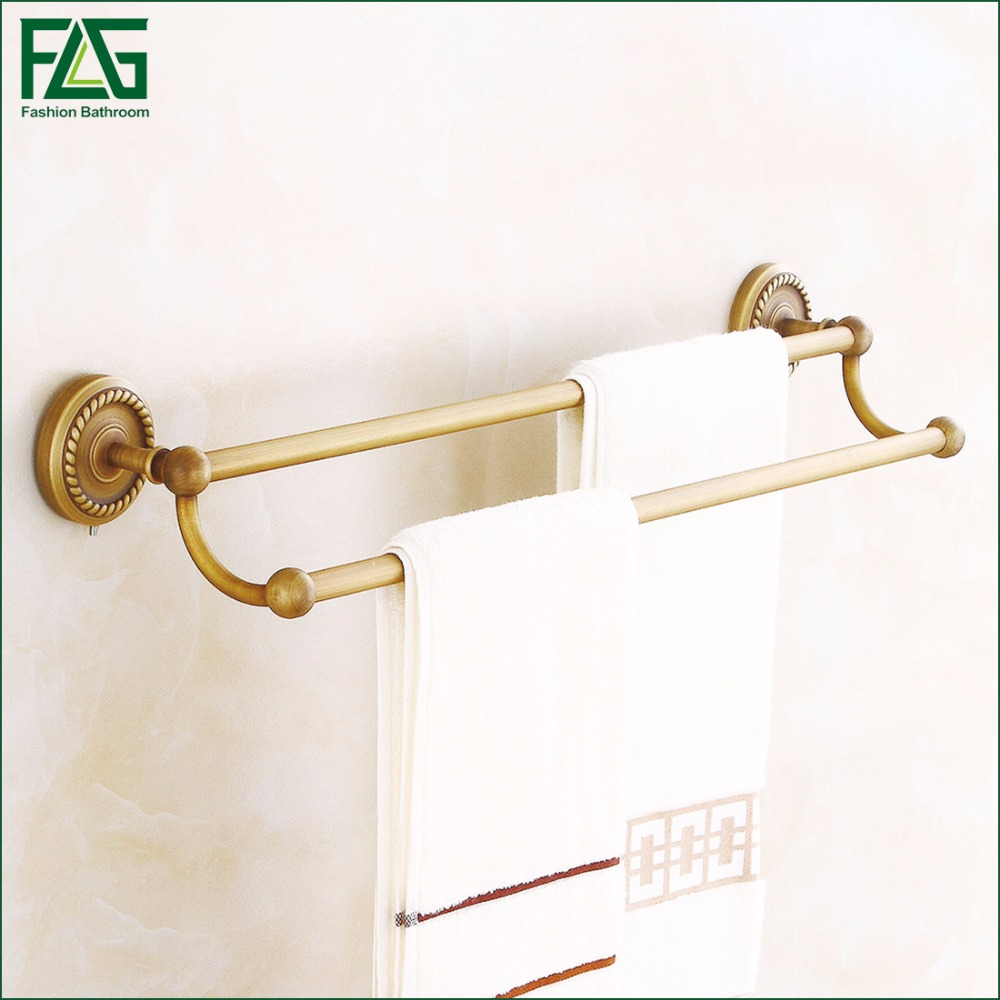 FLG 100% Brass Bathroom Double Rods Towel Bars Rack Wall-Mounted Antique Towel Hanging Shelves High Quality,Free Shipping 80108 bathroom shelves wall mounted towel rack bars bath towel carved holder 2 tier brass bathroom accessories towel tack ssl s22