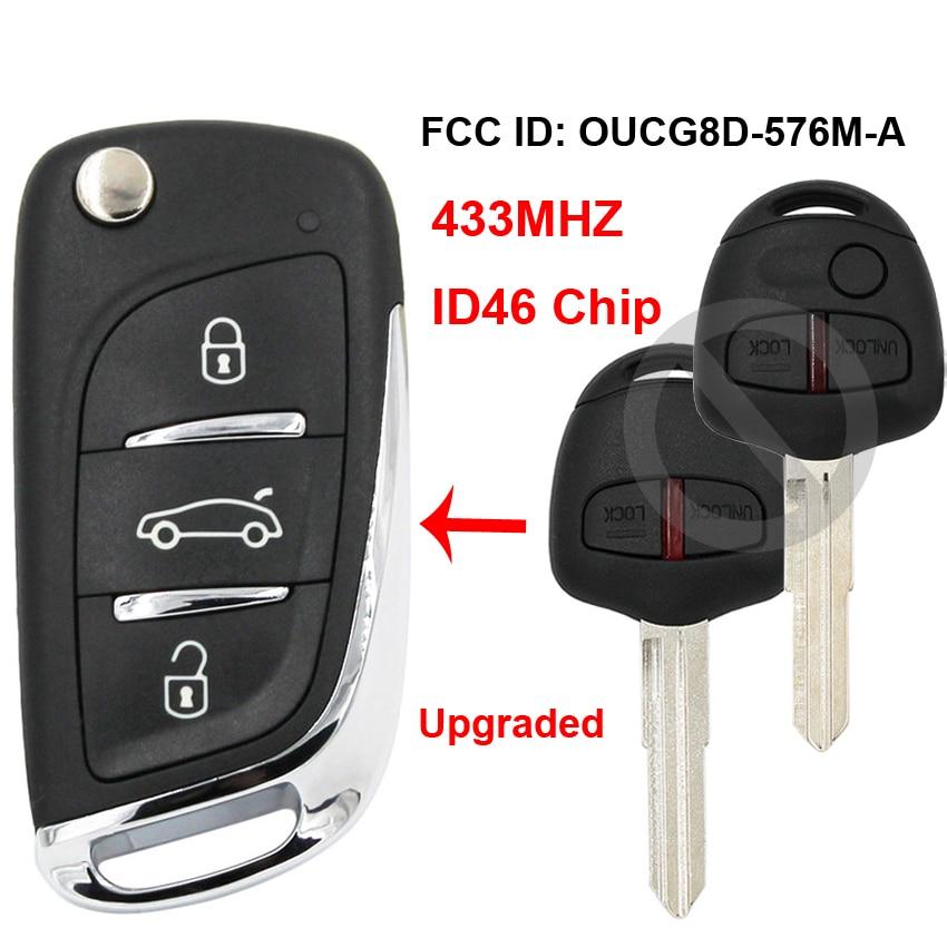 Upgraded Flip Remote Car Key Fob 433MHz ID46 for Mitsubishi Lancer CJ 2007-2013