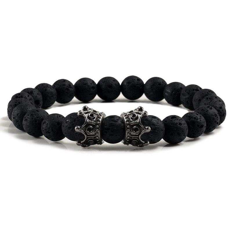 bracelet pierre de lave couronne
