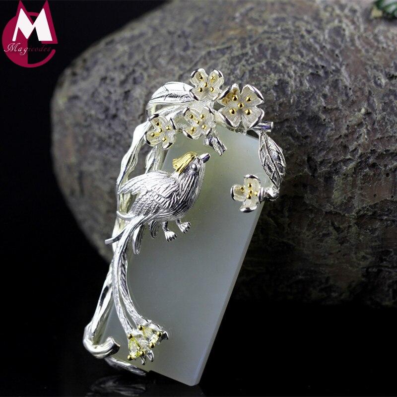 Conception originale de Mère Cadeaux CZ Chanceux Animal Magpie Collier Pendentif Avec Blanc Naturel Jade Main Fleur Feuille Bijoux SP28