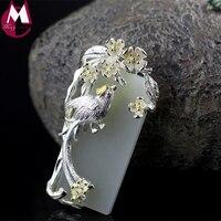 Orijinal Tasarım anneler Hediyeler CZ Şanslı Hayvan Saksağan Kolye Kolye Doğal Beyaz Yeşim El Yapımı Çiçek Ile Yaprak Takı SP28