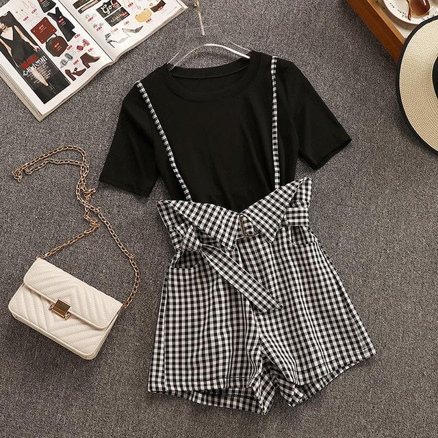 Women Sleek T-shirt+Straps Plaid Shorts Sets Female Woman Casual Suspender Clothing Suits