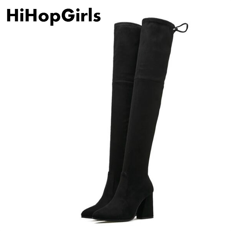 HiHopGirls 2017 New Hot women winter Square High heels boots pointed toe was thin Knee Pack legs shoes Snow boots Ship DHL hot selling 2015 women denim boots pointed toe tassel patchwork knee high boots crystal thin high heels winter motorcycle boots