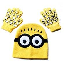 CoolCheer детская шапка+ перчатки шапка мультфильм перчатки с миньонами головные уборы наборы модные детские теплые трикотажные шапки перчатки детские шапочки