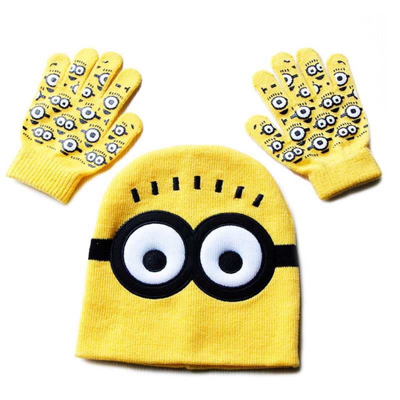CoolCheer Children's Cap + Gloves Hat Cartoon Minions Glove Hats Sets Fashion Kids Baby Warm Knitted Caps Gloves Baby Beanies