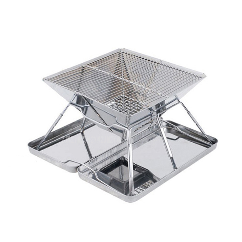 Stainless Steel Folding Charcoal BBQ Grills 31X31X21cm Picnic Barbecue BBQ Roast Stove Rack For Outdoor Home Garden Roasting