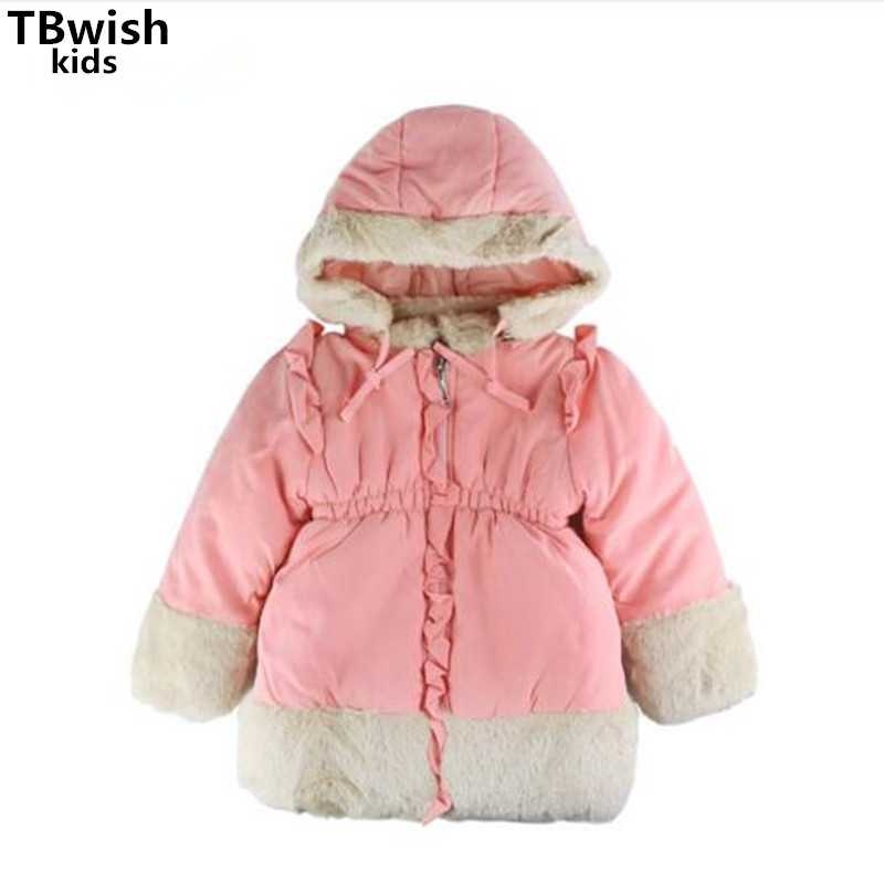 Children s Girls Winter Clothing Outerwear Coats Kids Red Hooded Fur Collar Cotton Thick Outerwear Girl