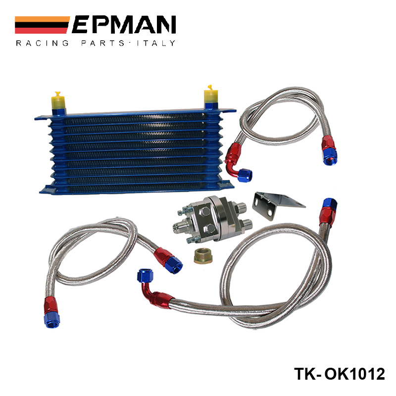 EPMAN - UNIVERSAL 10 ROW OIL COOLER KIT WITH OIL FILTER RELOCATION KIT FOR TURBO RACE EP-OK1012 epman universal 2 25 inch 57mm turbo intercooler aluminum pipe silicone hose kit black length 600mm for bmw e60 ep lgtj57 600