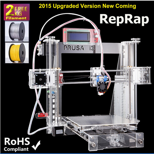 2015 Most Popular and Affordable Reprap Prusa I3 Printer 3D Printer China with Two Rolls Filament 8GB SD card  for Free