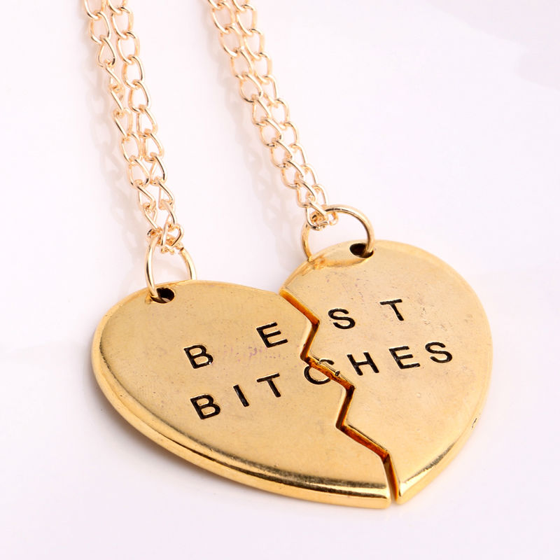 Gorgeous 2/3 BFF Broken Heart Necklace Gold Silver Plated Best Bitches