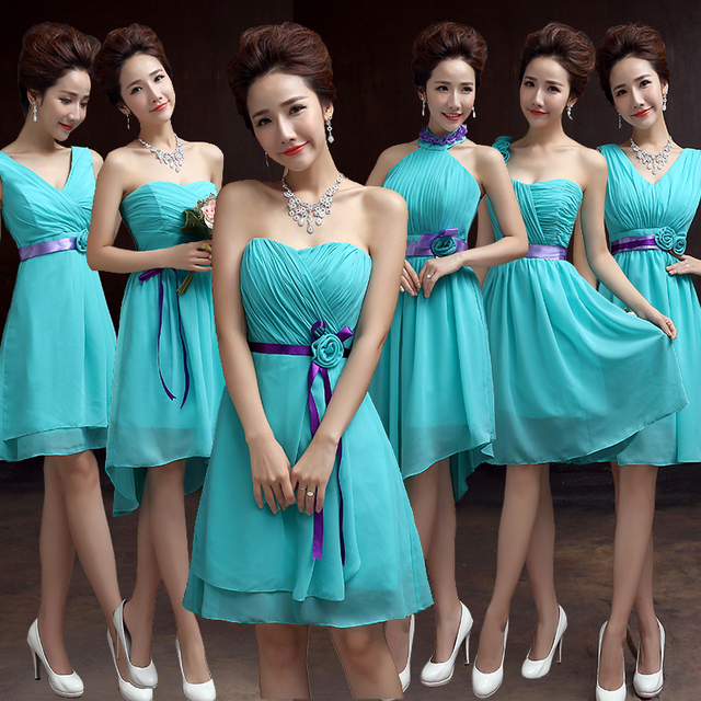 short Bridesmaid Dresses Chiffon Turquoise Blue Dress For Weddings ...