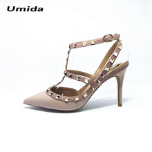 Umida Brand Women Pumps Pointed Toe High Heels Fashion Women Shoes Rivets Pumps Genuine Leather Ankle Strap High Heel Shoes33-43(China)
