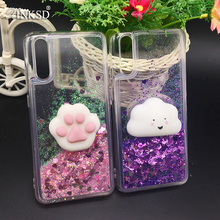 Luxury Glitter Quicksand Cover Cases for Huawei P20 Case 3d Squinshy Cat P20 plus Liquid Shining Back Protection Cover P20 lite