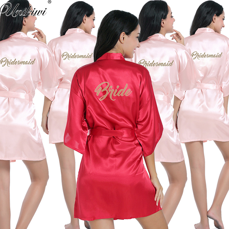 Bride Bridesmaid Gold Letters Robes.Bride Robes Pajamas Bathrobe Nightgown.Women Satin Wedding Kimono Sleepwear Get Ready Robes(China)